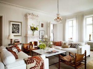 интерьер гостиной +в белом цвете